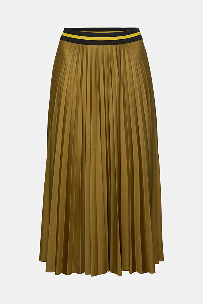 Pleated jersey skirt, OLIVE, detail image number 5