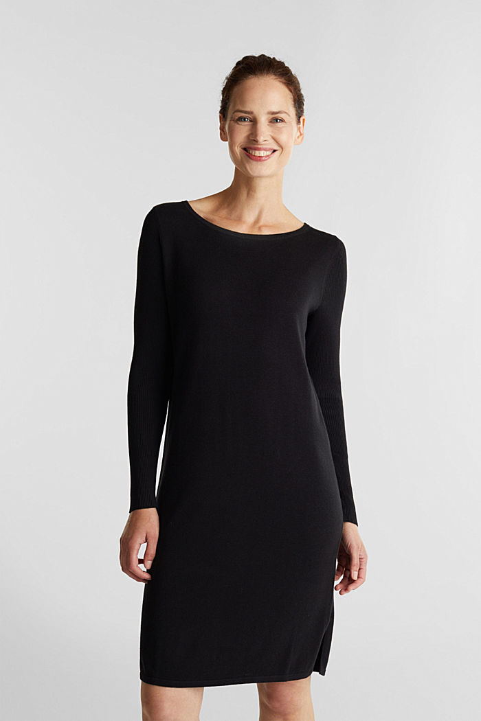 Basic knit dress made of organic cotton, BLACK, overview