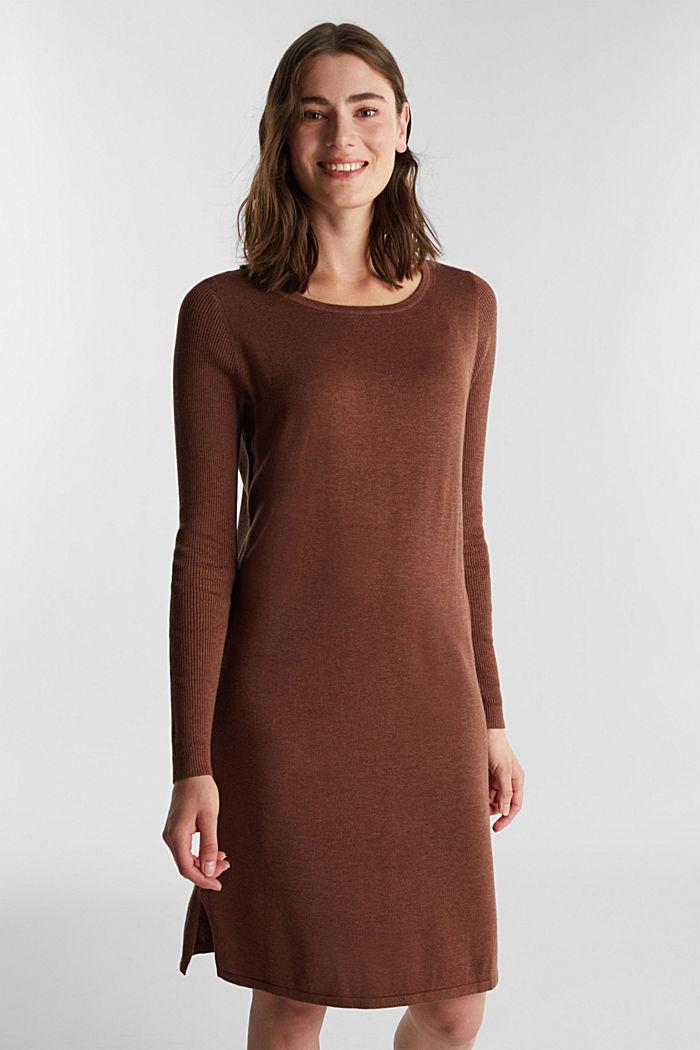Basic knit dress made of organic cotton, BROWN, detail image number 0
