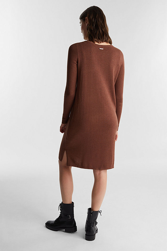 Basic knit dress made of organic cotton, BROWN, detail image number 2