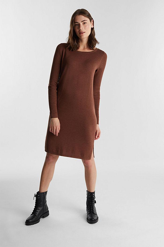 Basic knit dress made of organic cotton, BROWN, detail image number 1