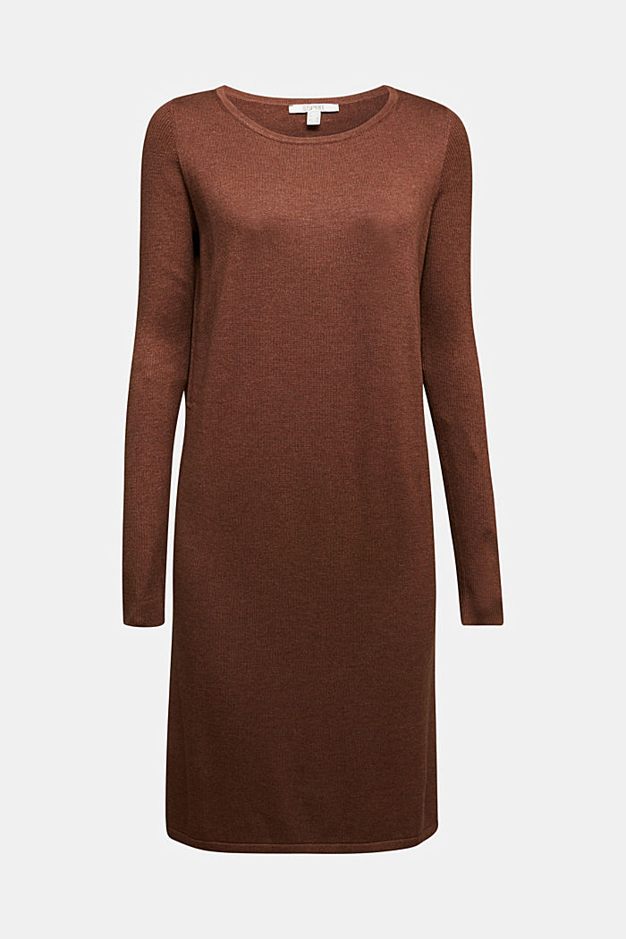 Basic knit dress made of organic cotton, BROWN, detail image number 5