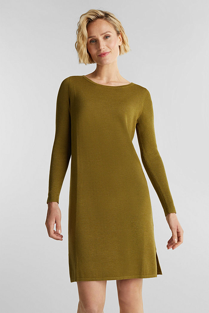 Basic knit dress made of organic cotton, OLIVE, detail image number 0