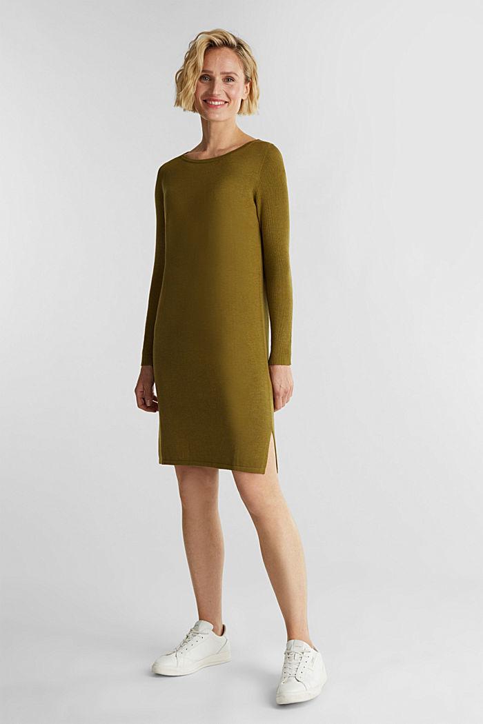 Basic knit dress made of organic cotton, OLIVE, detail image number 1