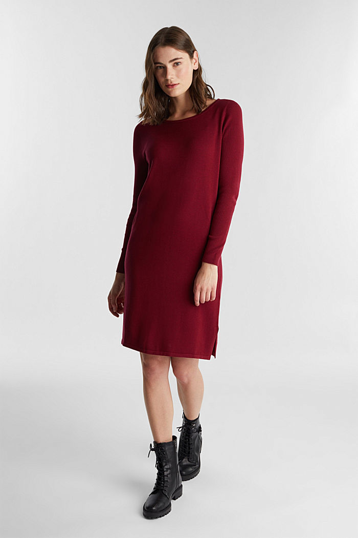 Basic knit dress made of organic cotton, BORDEAUX RED, detail image number 0