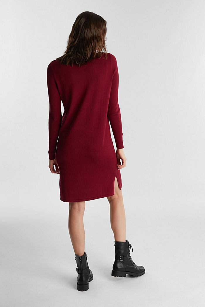 Basic knit dress made of organic cotton, BORDEAUX RED, detail image number 2