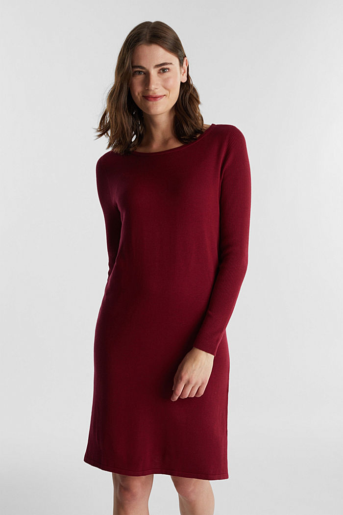 Basic knit dress made of organic cotton, BORDEAUX RED, detail image number 1