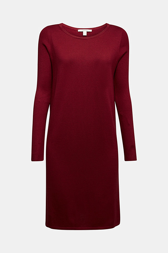 Basic knit dress made of organic cotton, BORDEAUX RED, detail image number 5