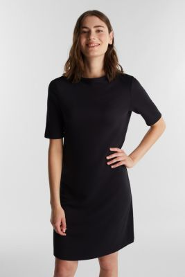 Jersey dress with stretch for comfort, BLACK, detail