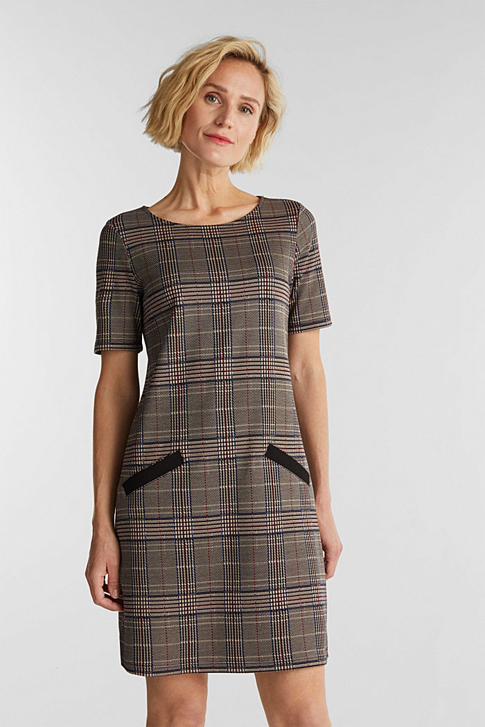 Jersey dress with a Prince of Wales check pattern, CAMEL, detail image number 0