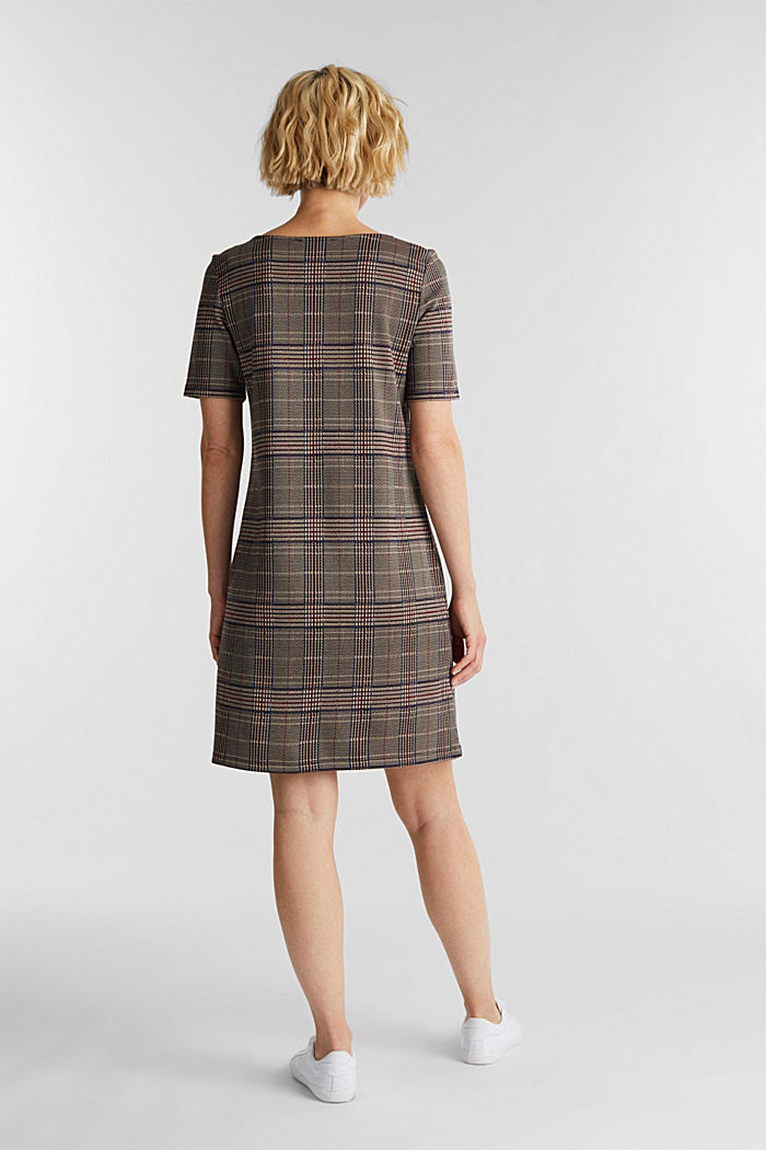 Jersey dress with a Prince of Wales check pattern, CAMEL, detail image number 2