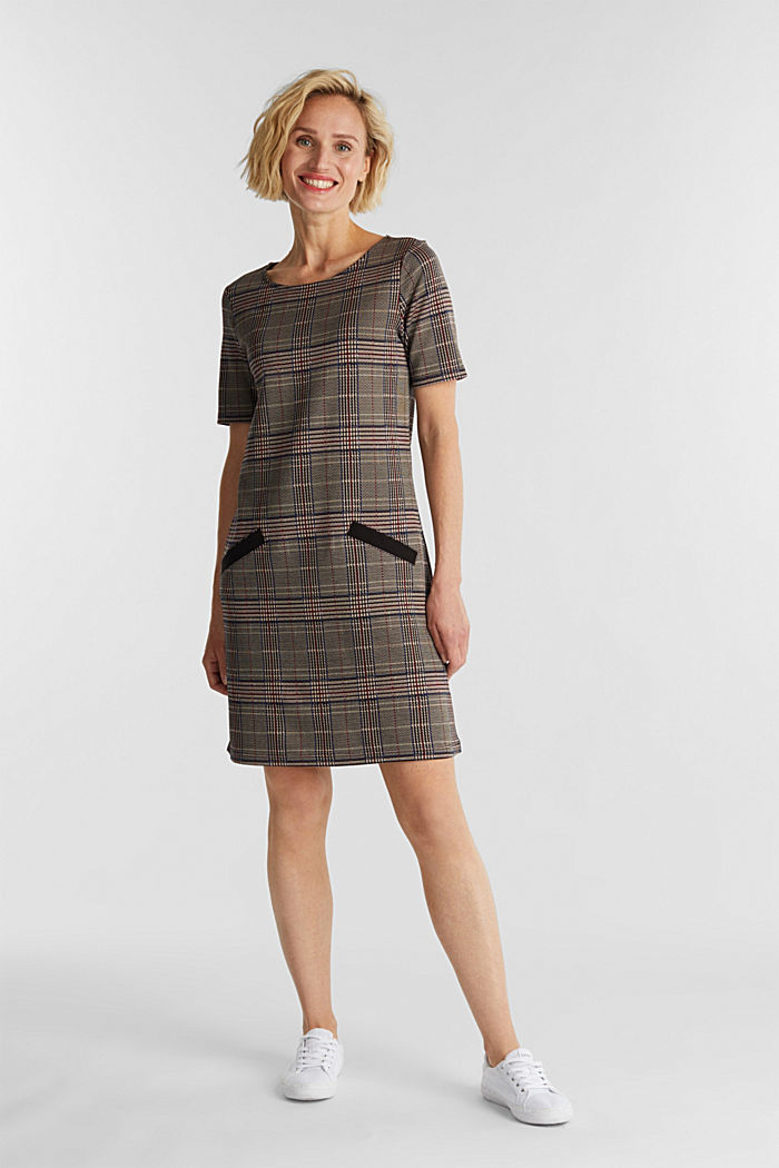 Jersey dress with a Prince of Wales check pattern, CAMEL, detail image number 1