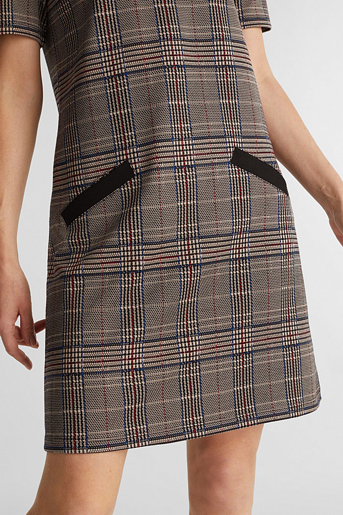 Jersey dress with a Prince of Wales check pattern, CAMEL, detail image number 3
