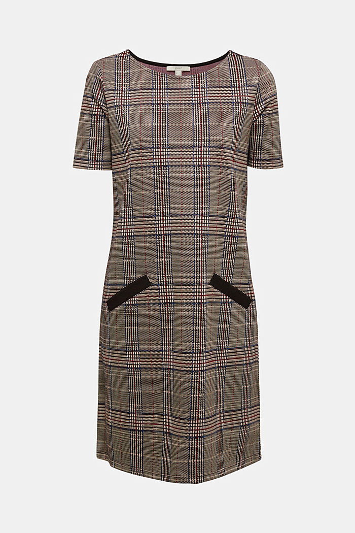 Jersey dress with a Prince of Wales check pattern, CAMEL, detail image number 6