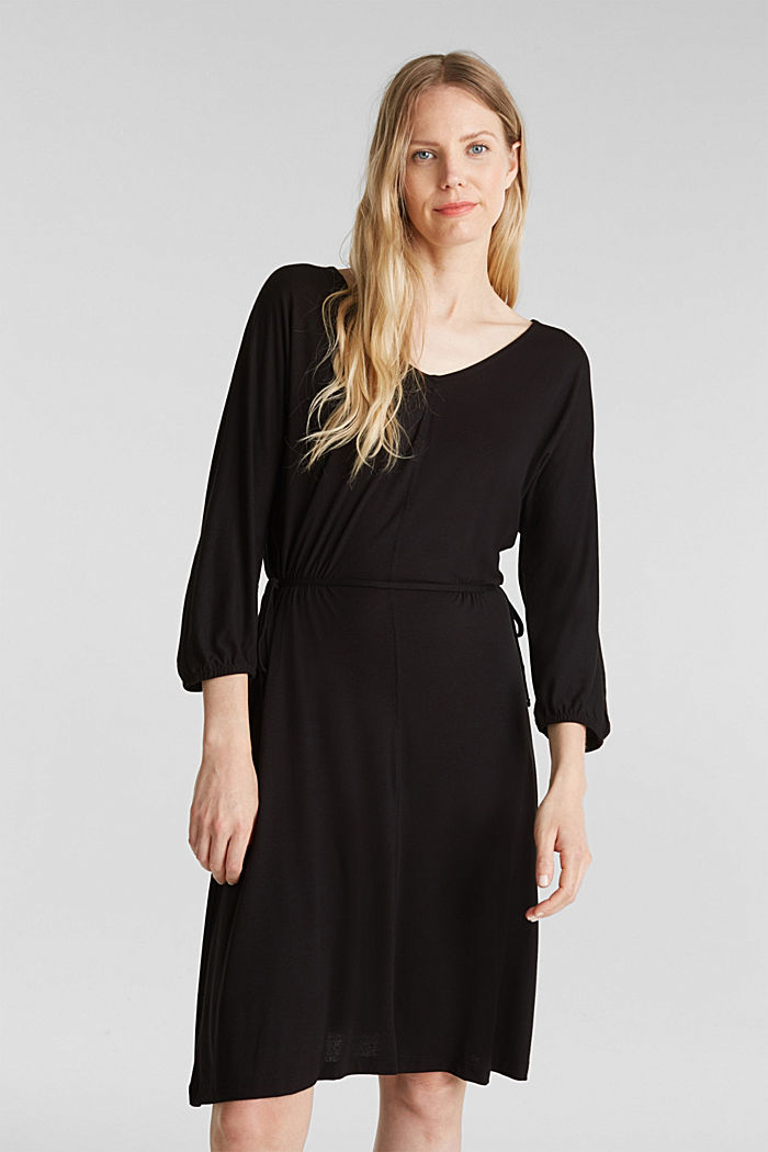 Jersey dress with lace-up detailing, BLACK, detail image number 0