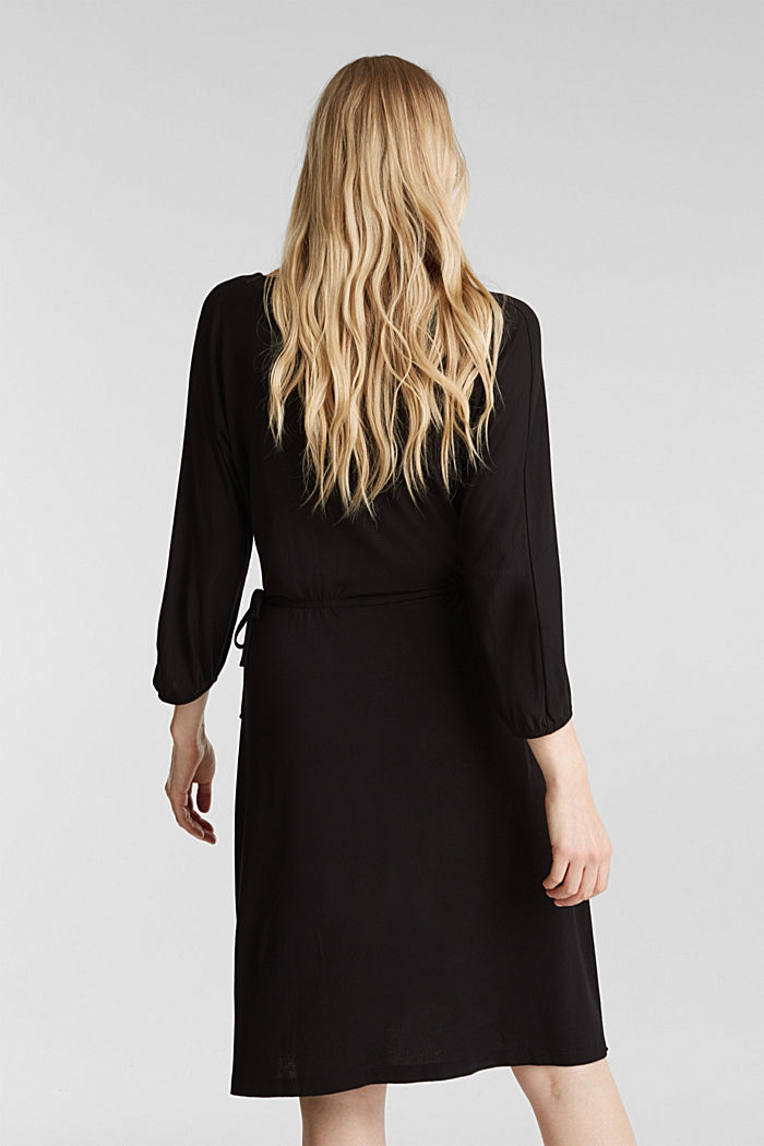 Jersey dress with lace-up detailing, BLACK, detail image number 2