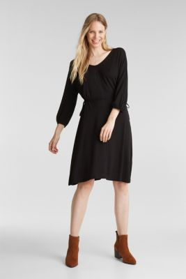 Jersey dress with lace-up detailing, BLACK, detail