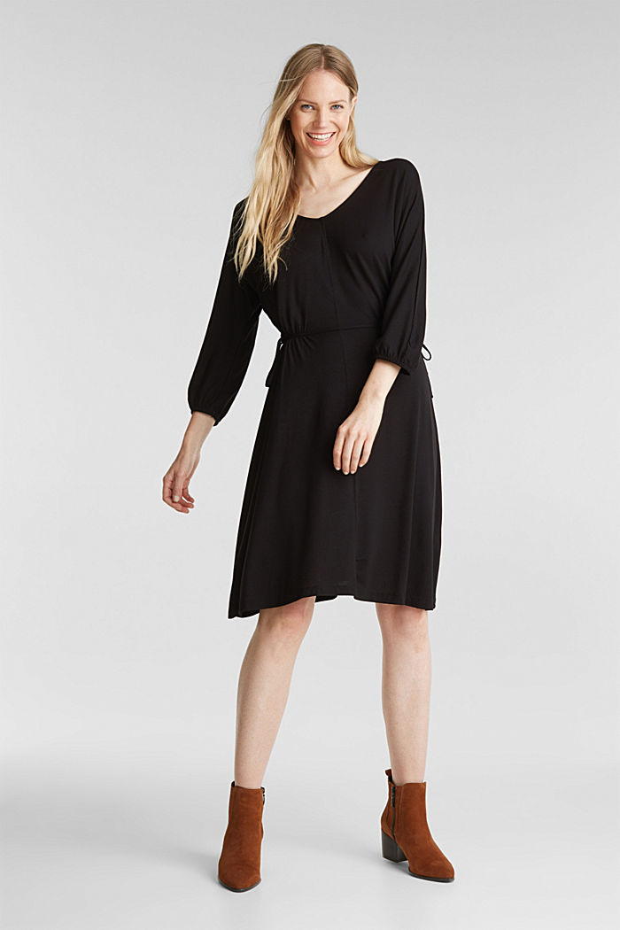 Jersey dress with lace-up detailing, BLACK, detail image number 1