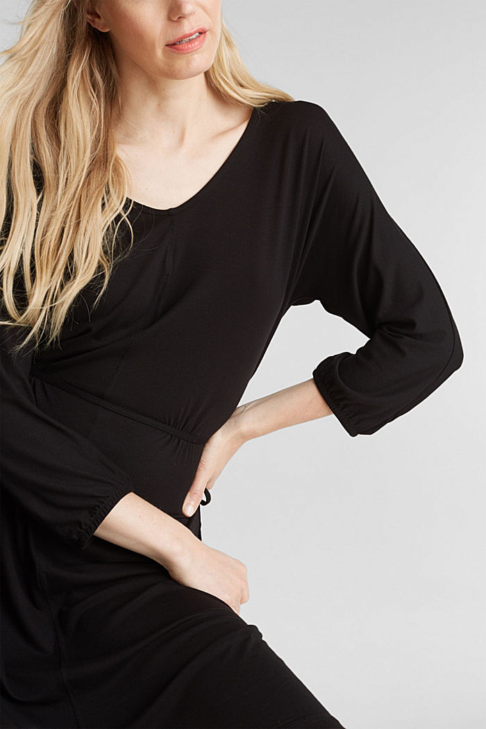 Jersey dress with lace-up detailing, BLACK, detail image number 3