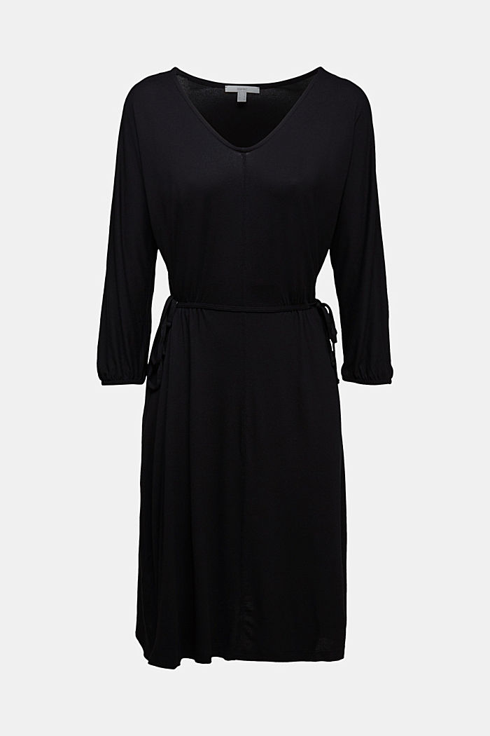 Jersey dress with lace-up detailing, BLACK, detail image number 6