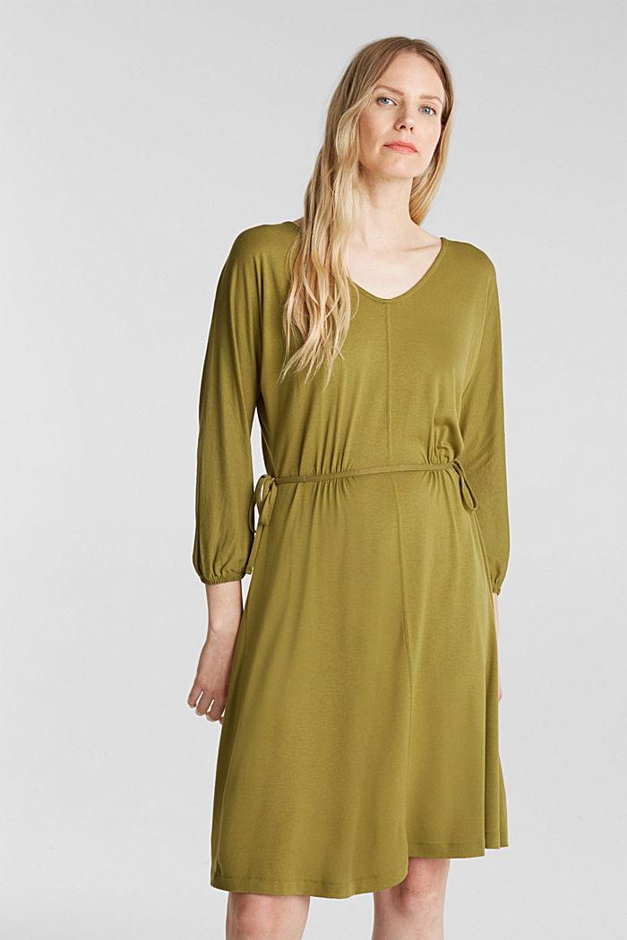 Jersey-Kleid mit Schnür-Details, OLIVE, detail image number 0