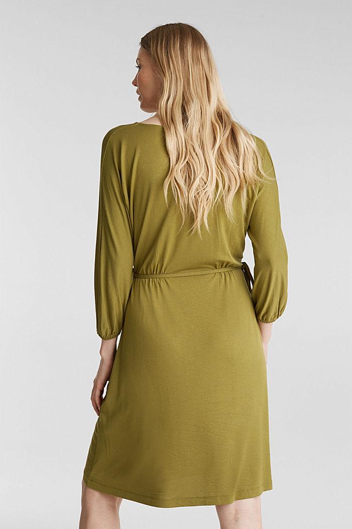 Jersey-Kleid mit Schnür-Details, OLIVE, detail image number 2