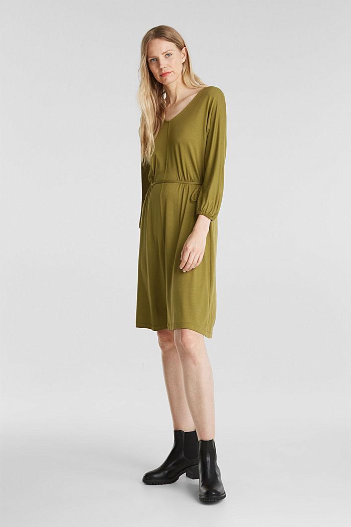 Jersey-Kleid mit Schnür-Details, OLIVE, detail image number 1