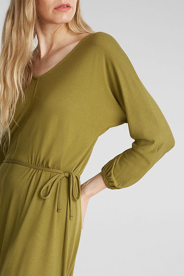Jersey-Kleid mit Schnür-Details, OLIVE, detail image number 3