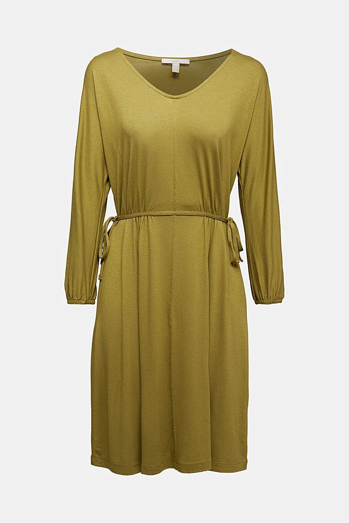 Jersey-Kleid mit Schnür-Details, OLIVE, detail image number 5