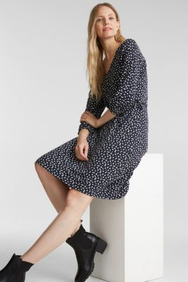Print dress with lace-up detailing, NAVY, detail