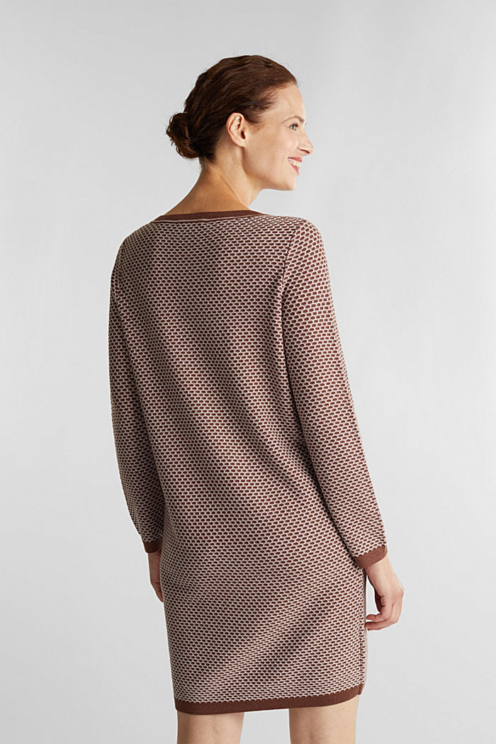Jacquard knitted dress, BROWN, detail image number 2
