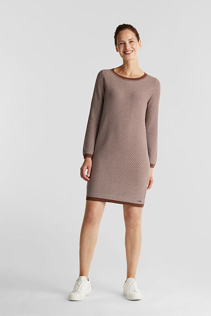 Jacquard knitted dress, BROWN, detail image number 1