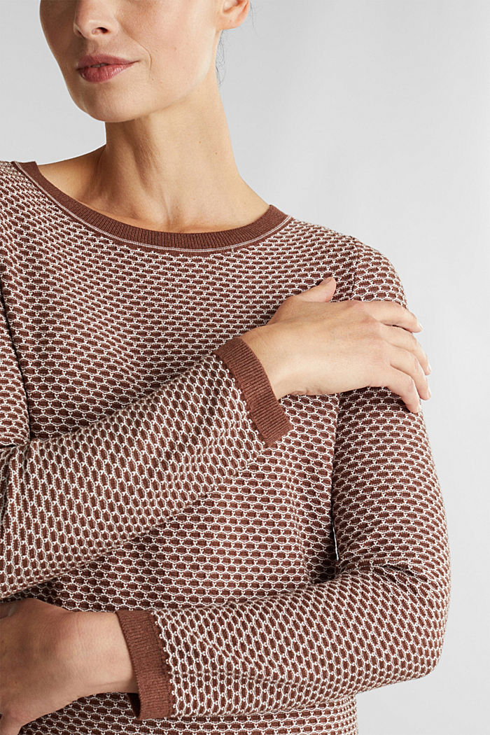 Jacquard knitted dress, BROWN, detail image number 3