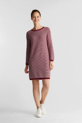 Jacquard knitted dress, BORDEAUX RED 4, detail