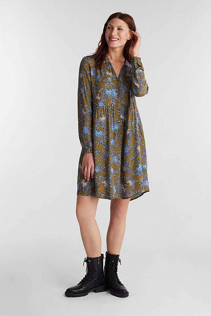 Blusenkleid aus LENZING™ ECOVERO™, OLIVE, detail image number 1