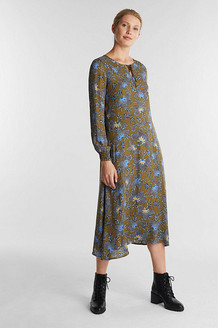 Crêpe-Kleid aus LENZING™ ECOVERO™, OLIVE, detail image number 0