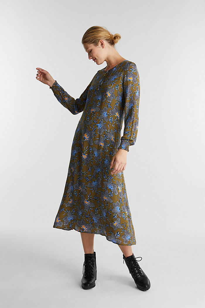 Crêpe-Kleid aus LENZING™ ECOVERO™, OLIVE, detail image number 1