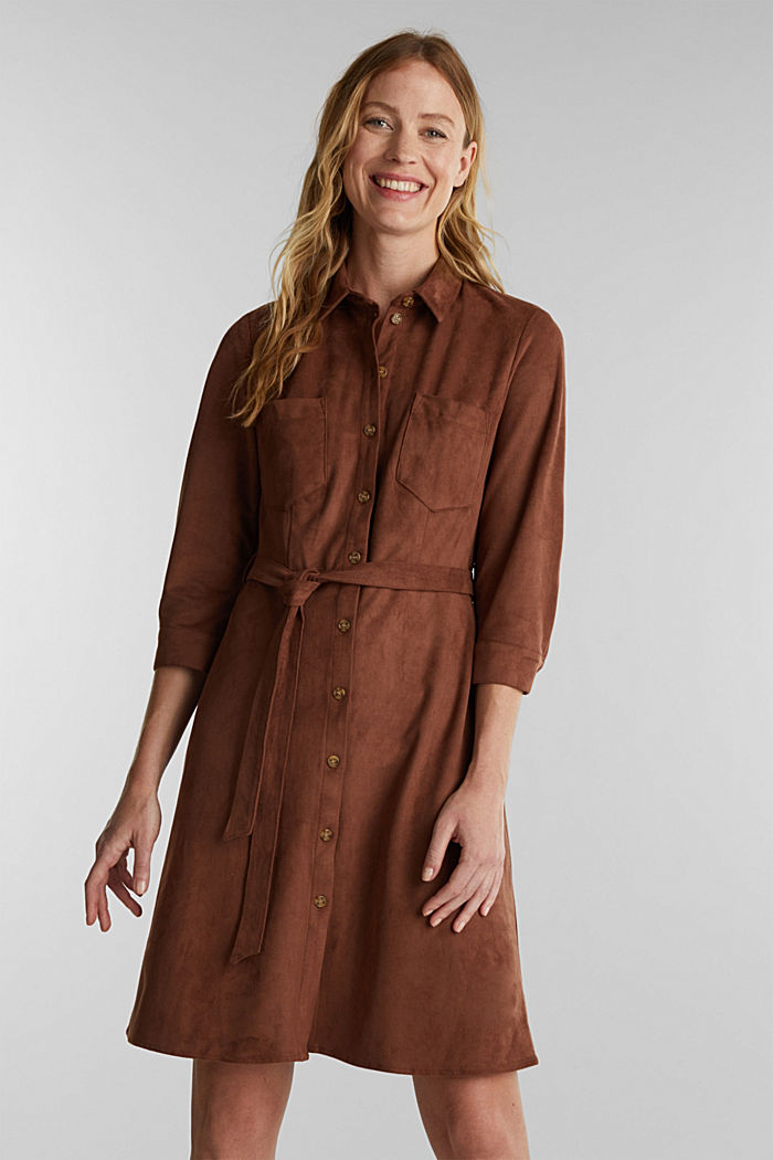 Shirt dress in faux suede, BROWN, detail image number 0