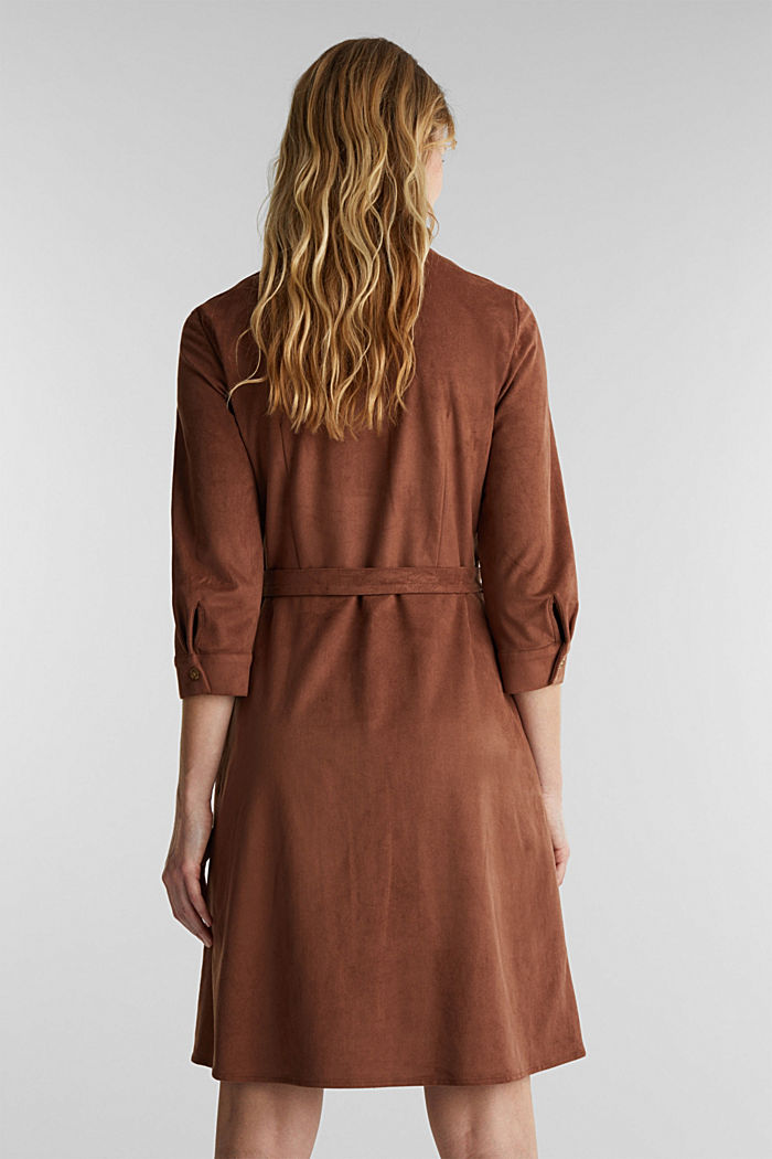 Shirt dress in faux suede, BROWN, detail image number 3