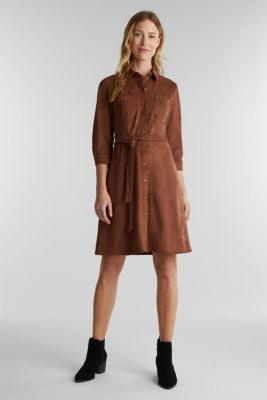 Shirt dress in faux suede, BROWN, detail