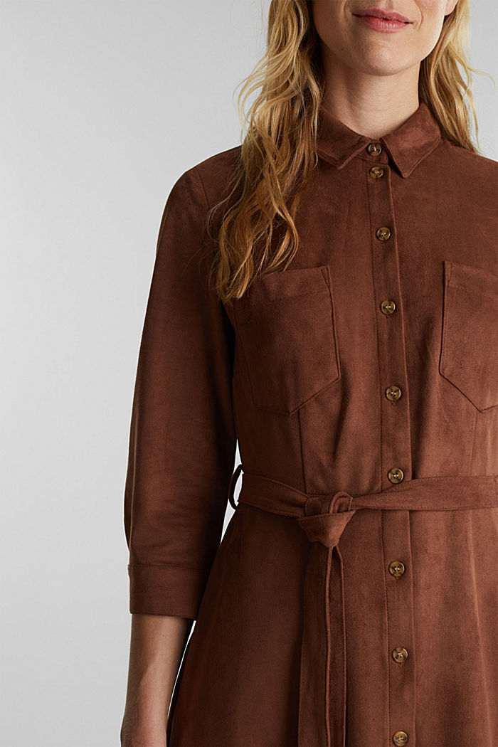 Shirt dress in faux suede, BROWN, detail image number 2