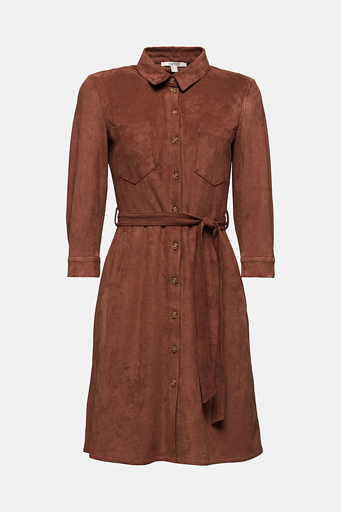 Shirt dress in faux suede, BROWN, detail image number 5
