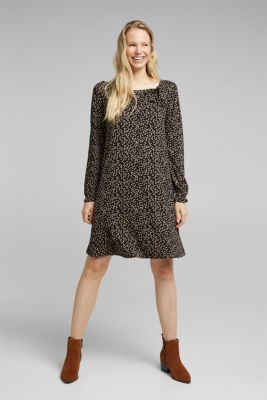 Print dress with LENZING™ ECOVERO™, BLACK, detail