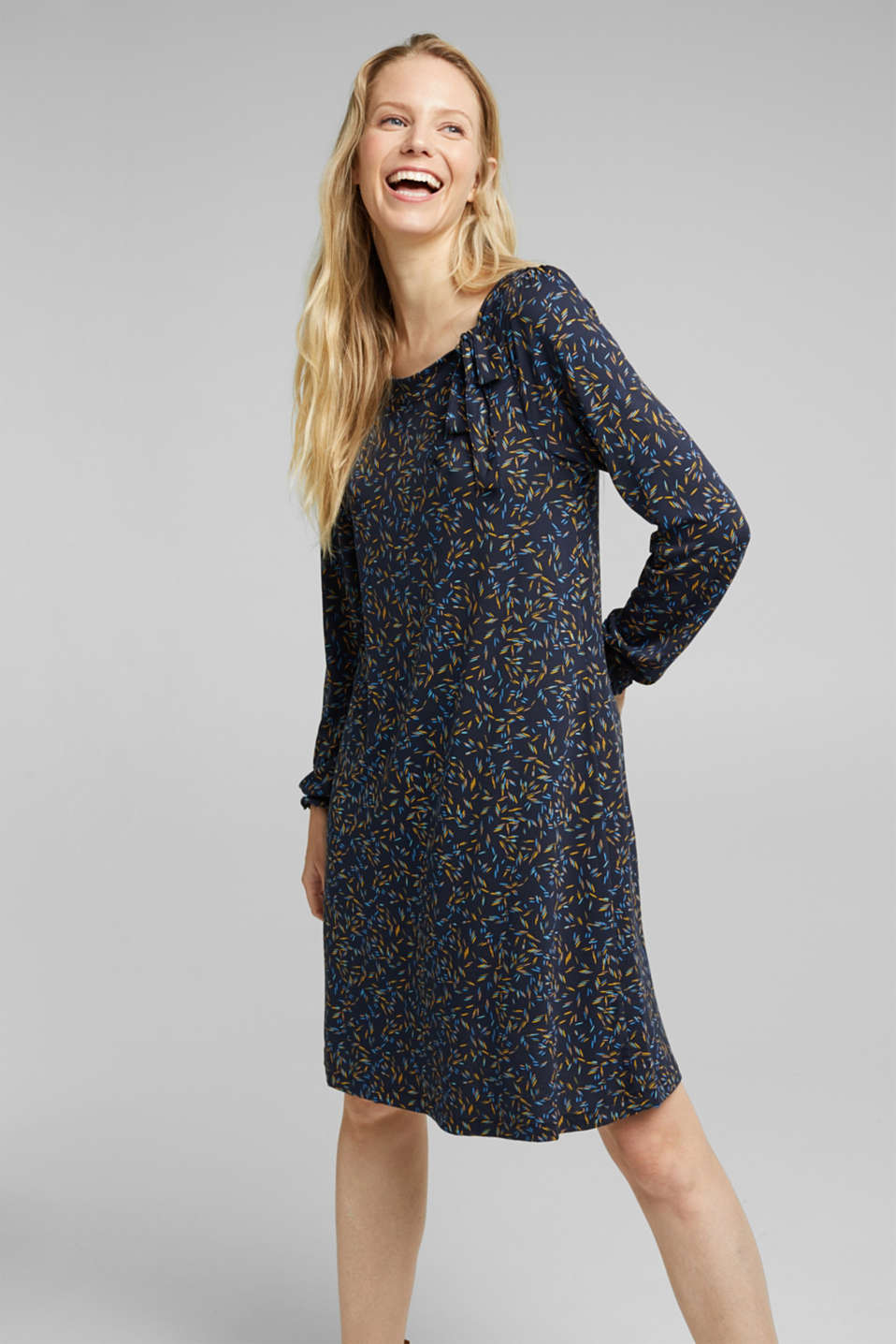 Esprit - Print dress with LENZING™ ECOVERO™