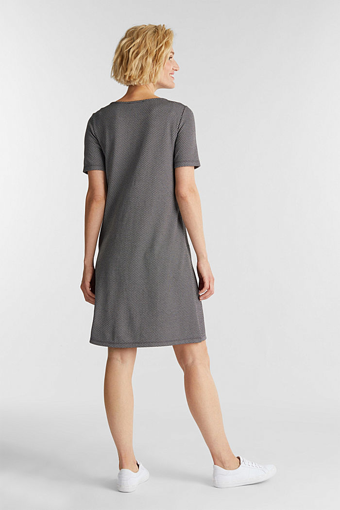 Jersey dress with a herringbone pattern, BLACK, detail image number 2