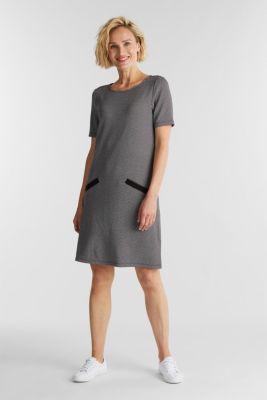Jersey dress with a herringbone pattern, BLACK, detail