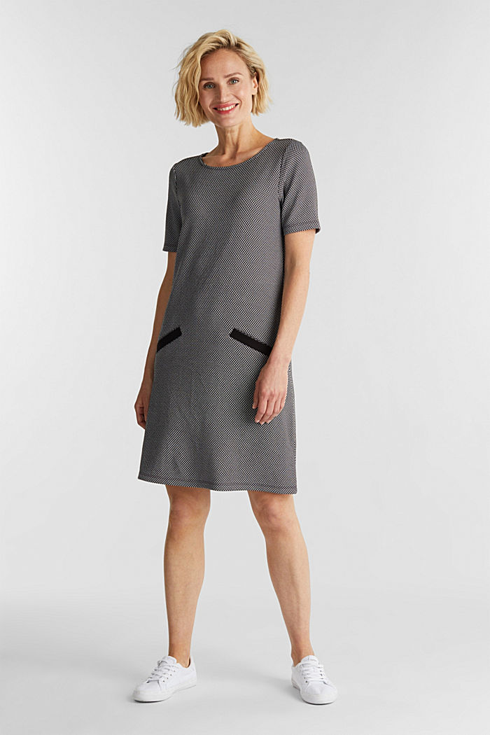 Jersey dress with a herringbone pattern, BLACK, detail image number 1