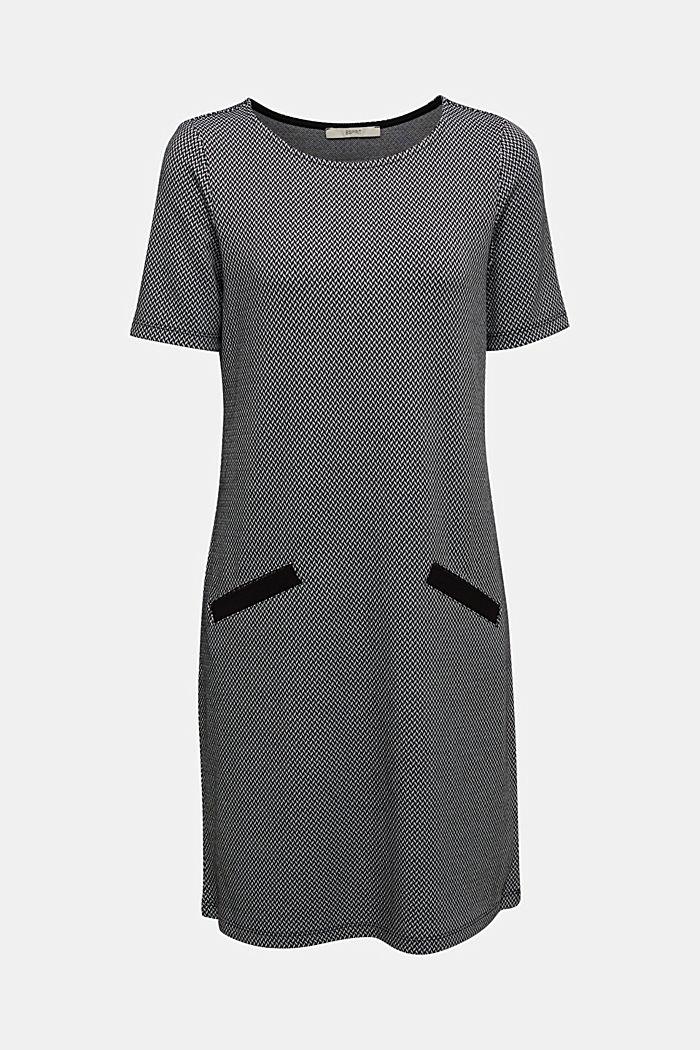 Jersey dress with a herringbone pattern
