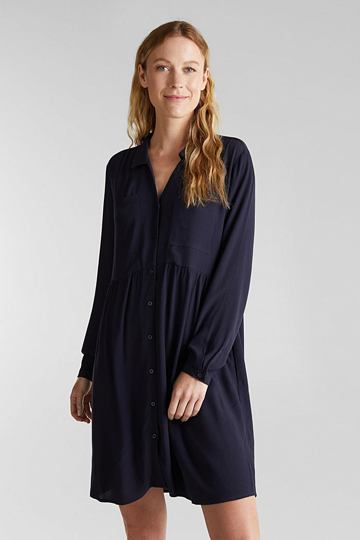 Shirt dress made of LENZING™ ECOVERO™, NAVY, overview