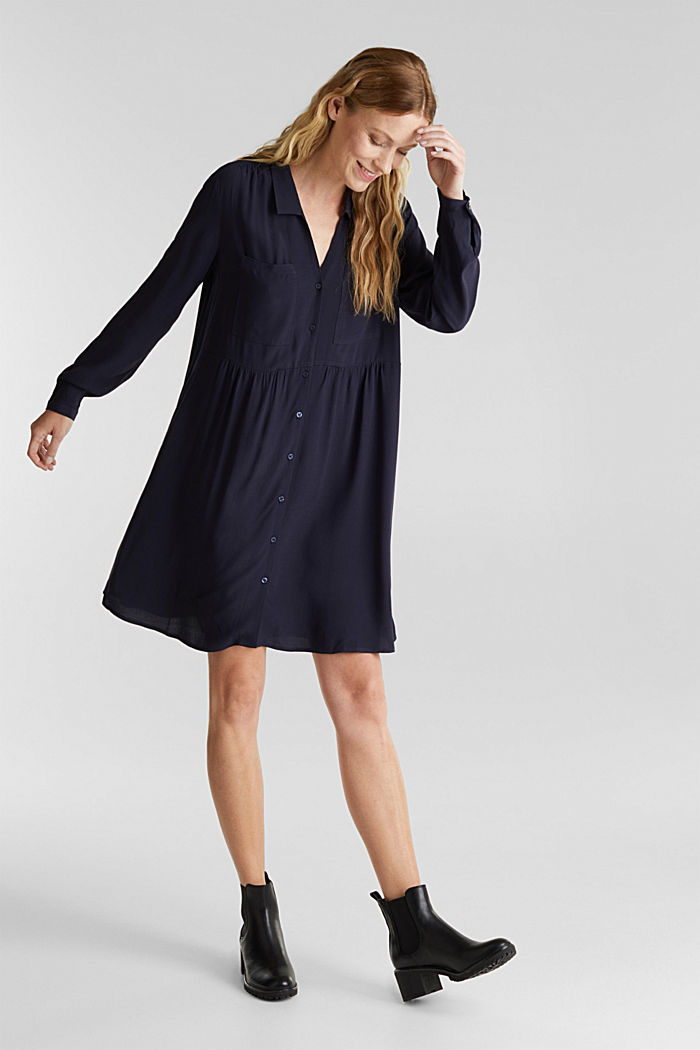 Shirt dress made of LENZING™ ECOVERO™, NAVY, detail image number 1
